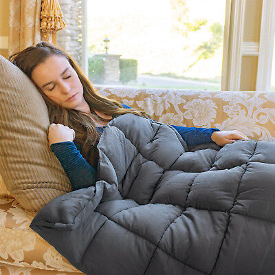 Anxiety Weighted Blanket Fit to Full Size Twin Size W/ Glass Bead 15lbs