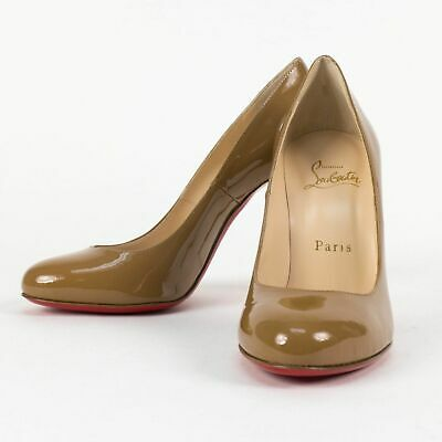 New CHRISTIAN  LOUBOUTIN 'FIFI' Cool Beige Patent Leather Pumps Size 8/38 $695