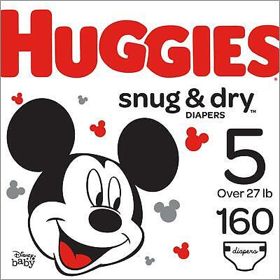 Huggies Snug & Dry Baby Diapers, Size 5, 160 Count NEW
