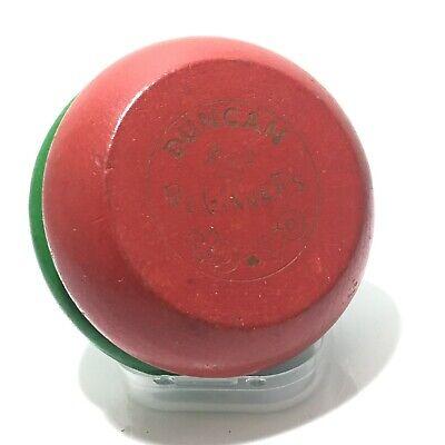 Vtg Genuine Duncan Beginners Yo-Yo YOYO Toy Green & Red Wood Wooden