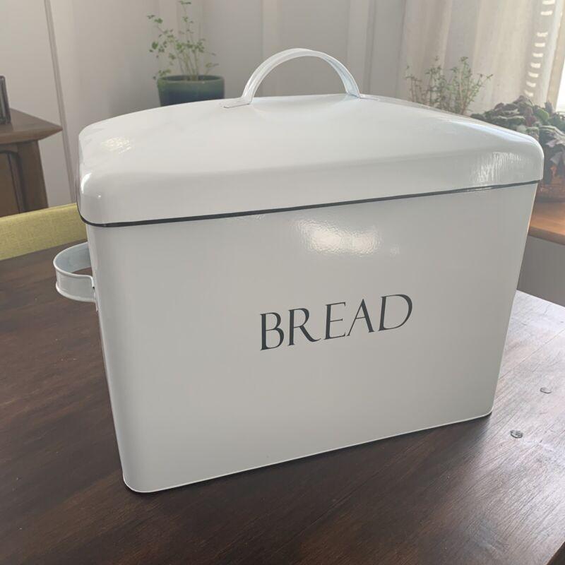 Large Metal Bread Box White Farmhouse Never Used!