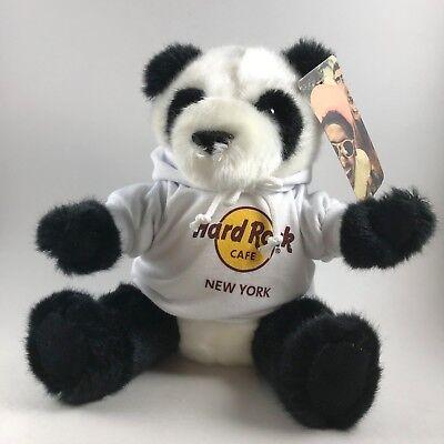 Hard Rock Cafe New York Panda Bear in hoodie stuffed animal souvenir collectible