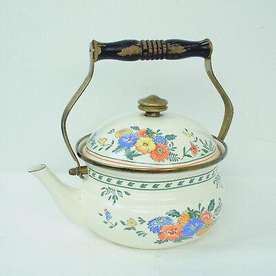 VTG Kamenstein Enamel Tea Kettle Teapot Floral Wooden Handle Brass Knob
