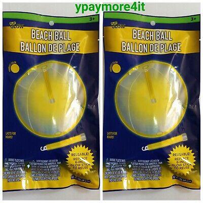 Light Up Beach Balls (2 Glow LIGHT-UP 12inch Beach Balls- REUSABLE! Non)