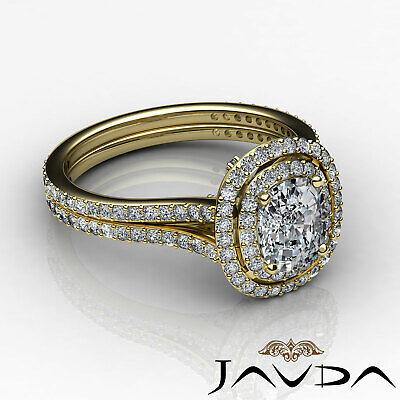 Cushion Diamond Engagement Antique Halo Ring GIA F SI1 14k White Gold 2.55 ct 8