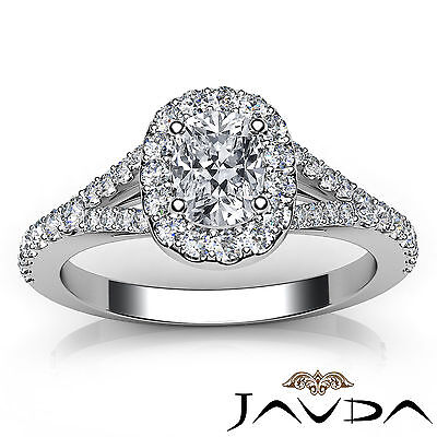 Halo Split Shank French U Pave Cushion Diamond Engagement Ring GIA F VS2 1.21 Ct 3