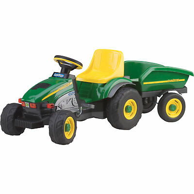 Peg Perego John Deere Kids Ride On Pedal-Power Outdoor Farm Tractor with Trailer