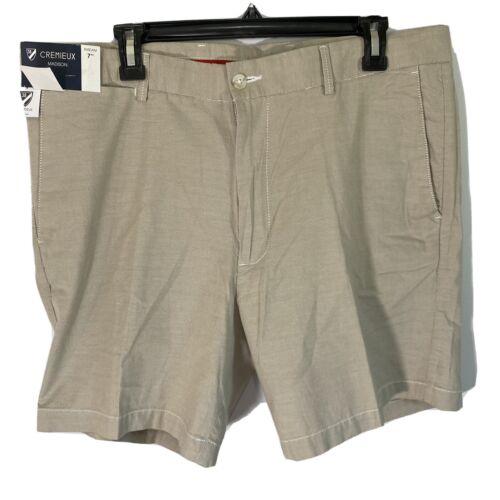 "Cremieux Mens Madison Khaki Chino Shorts 38 Flat Front 7"" Clothing, Shoes & Accessories"