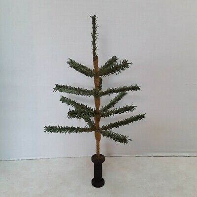 """NEW Primitive 21/"""" Real Green Feather Christmas Tree,Wood Urn Base,Acorns,Berries"""