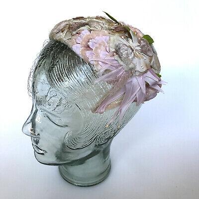 Original vintage hat - 1930s 1940s -  Floral casque - Pink flowers