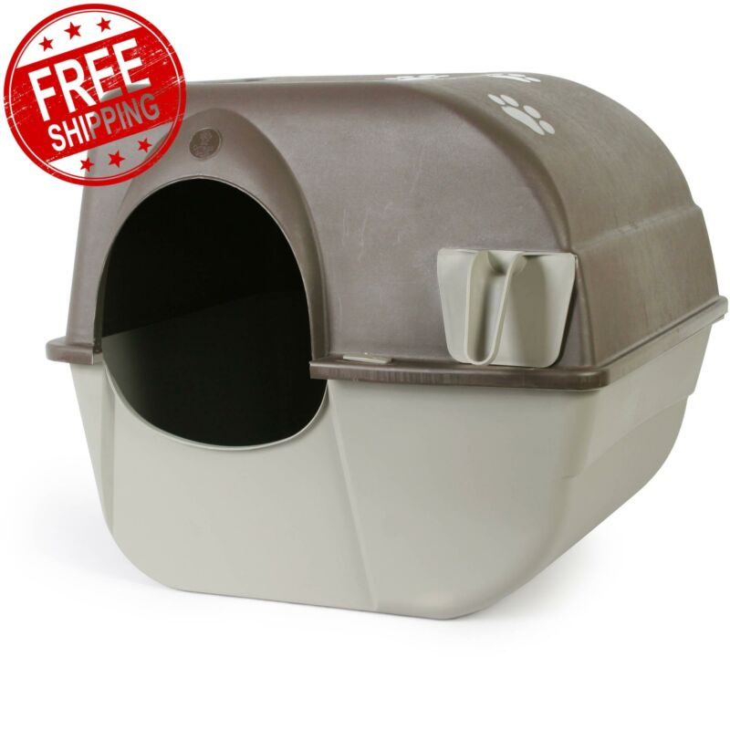 Omega Paw Self Cleaning Automatic Cat Litter Box Large Rolln Kitty Pewter Scoop