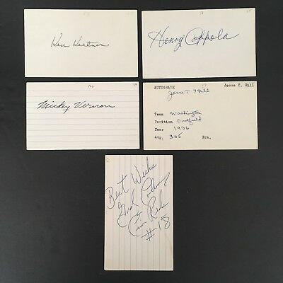 VINTAGE MLB LOT #19 (5) HAND SIGNED AUTOGRAPHS COPPOLA/HILL/COLEMAN/VERNON!!
