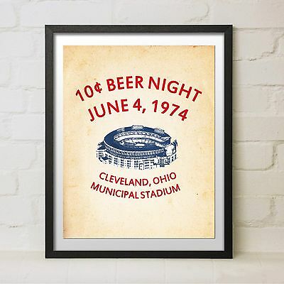Vintage 10 Cent Beer Night Baseball Cleveland Indians Flyer Replica Print Gift