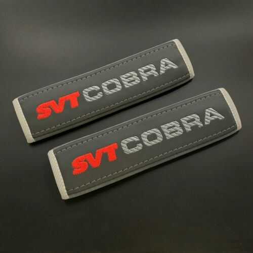 Grey seat belt pads Covers with red and gray embroidery SVT Cobra 2pcs