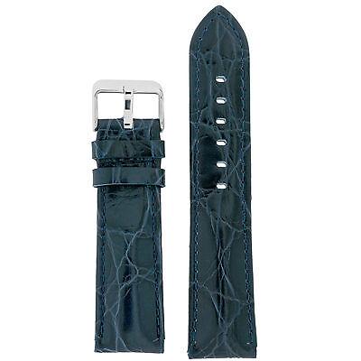 Watch Band Navy Blue Crocodile Grain Leather Comfort Lite Padded