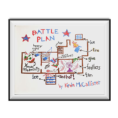 Battle Plan Poster Home Alone Movie Kevin McCallister Christmas Gift Wall Map](Home Alone Poster)