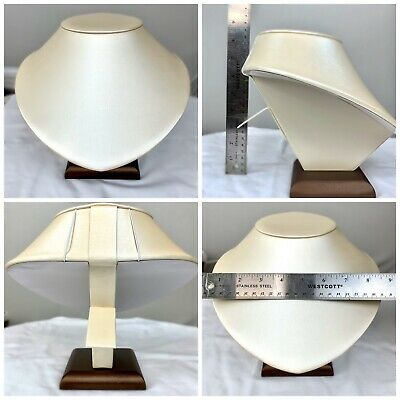 Large Cream Brown Leatherette Jewelry Necklace Display Bust Stand