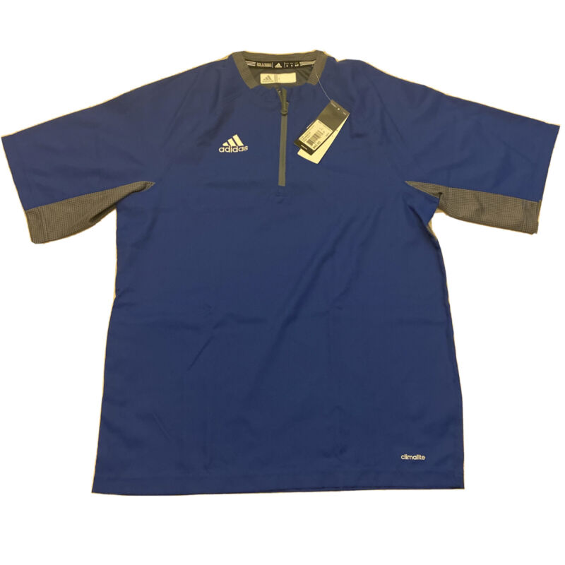 Adidas Mens Climalite Fielders Choice SS 1/4 Zip Batting Jacket Blue Gray Small