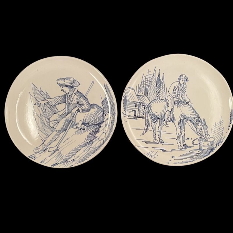 Vintage Ethan Allen Wall Plates Blue & White Hand Drawn Scenes Made in Italy 9.5