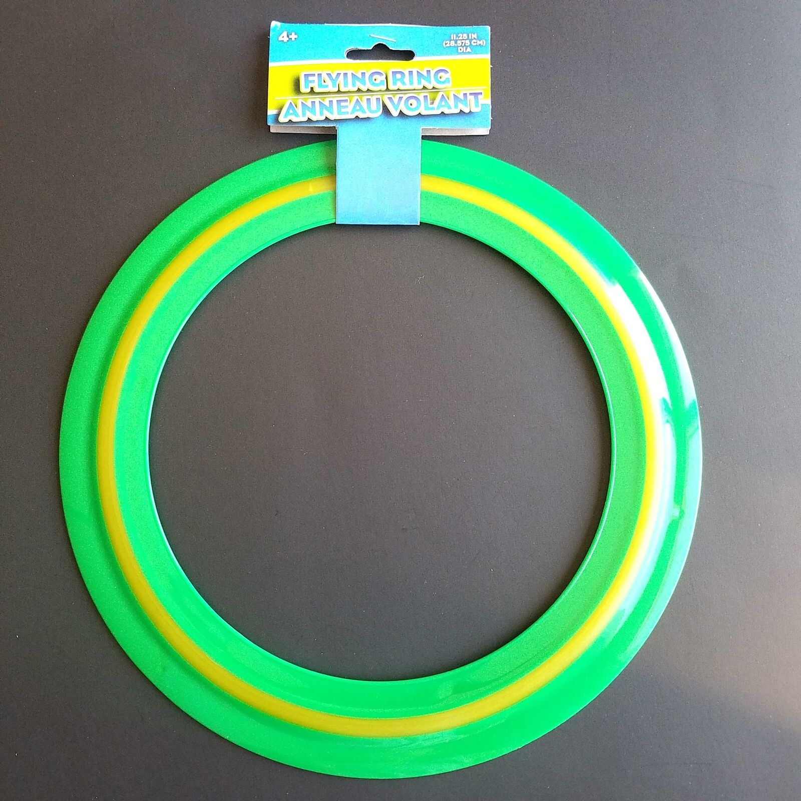 """11"""" Green with Yellow Strip Plastic Flying Ring Frisbee Fast"""