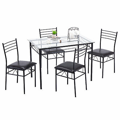 5 Piece Dining Table Set Glass and 4 Chairs PU Cushion Kitchen Breakfast Furnitu