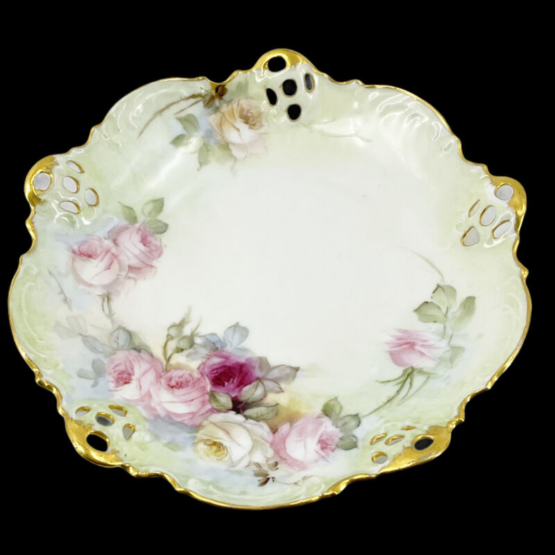 """Antique Rosenthal Moliere Bavaria Hand Painted  Berry Bowl 10"""" Pink Roses Gold"""