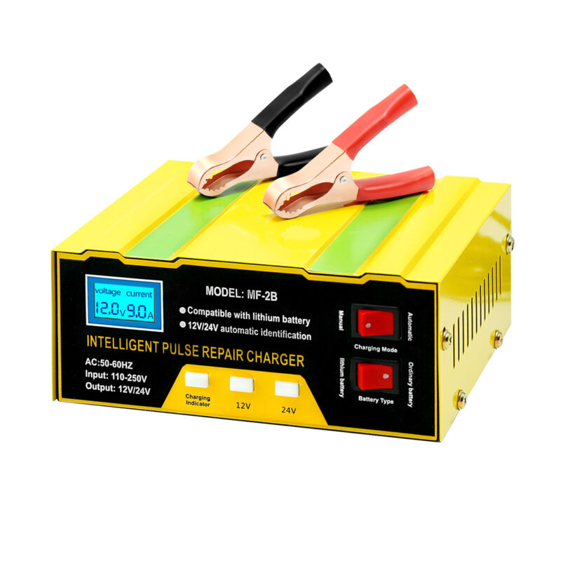 Smart 12V 24V Battery Charger For Car Motorcycle Pulse Repair LCD Touch Screen