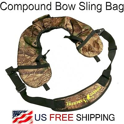 - Compound Bow Sling Bag w.  Belt Camo String Holder Case Archery Carrier Bag