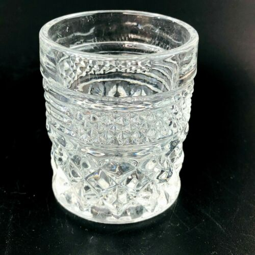 Vtg clear cut glass tooth pick holder