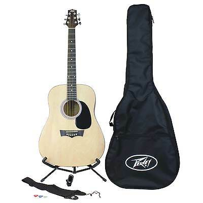 Peavey Acoustic Guitar Rockmaster Pack with Bag, Stand, Tuner, Picks, and More