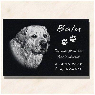 Granit Tier Grabstein Grabplatte Hund mit Foto + Text Gravur 40x 30 cm  DS-102