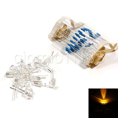 Us Stock 100pcs Led 3mm Yellow Water Clear Ultra Bright With 12v Dc Resistors
