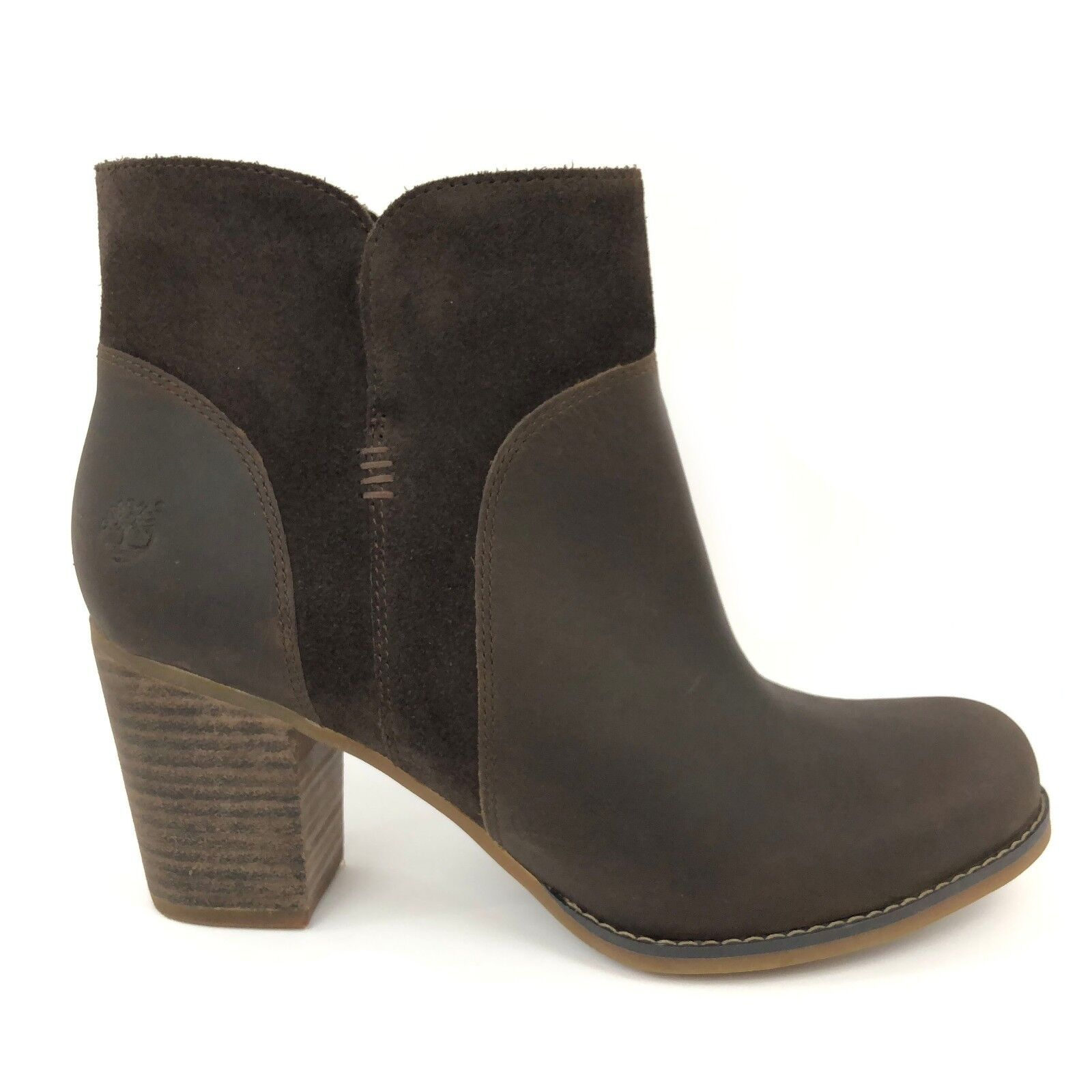 Timberland Women's Rudston Dark Brown Leather Ankle Heeled Boots A1621 1