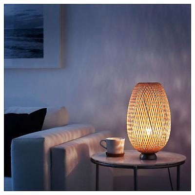 Modern IKEABamboo Table Lamp Nickel Plated Bamboo Rattan BÖJA Boja 901.550.40 Bamboo Resin Table Lamp