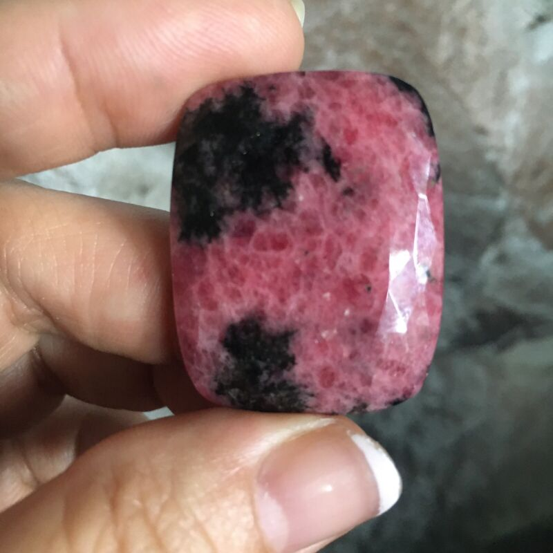 34.5x27x4.5mm Fine Faceted Rhodonite Cabochon Loose Stone For Wire Wrapping