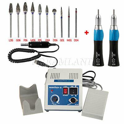 Dental Laboratorio Marathon Micromotor eléctrico +2 Pieza de mano recta + fresas