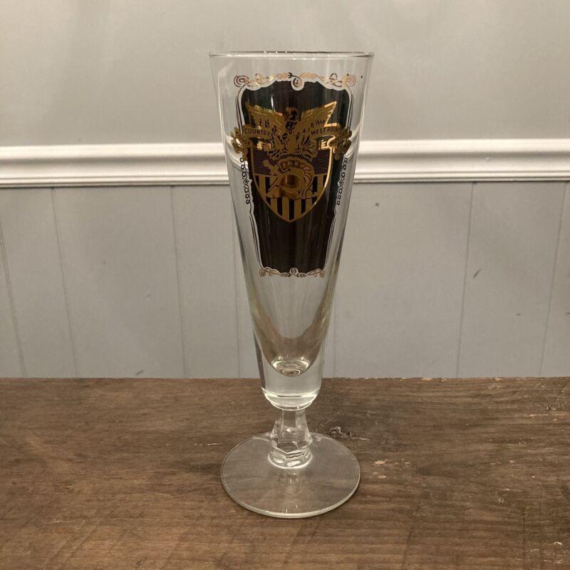 """West Point USMA """"Benny Havens, Oh!"""" Pilsner Beer Champagne Glass Vintage Gold"""