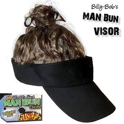 BILLY BOB's MAN BUN VISOR - Black Hat w/ Brown Hair - Ponytail Costume GaG Joke