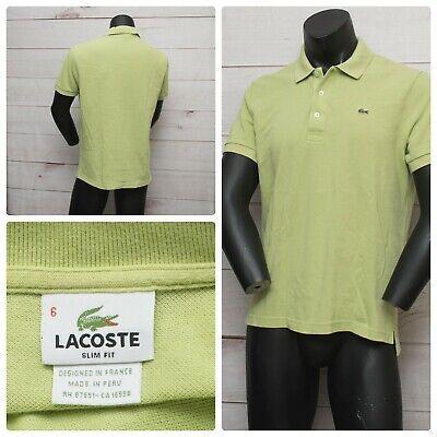 Lacoste Green Size LARGE   6 Men's Polo Cotton Shirt Crocodile Short sleeve