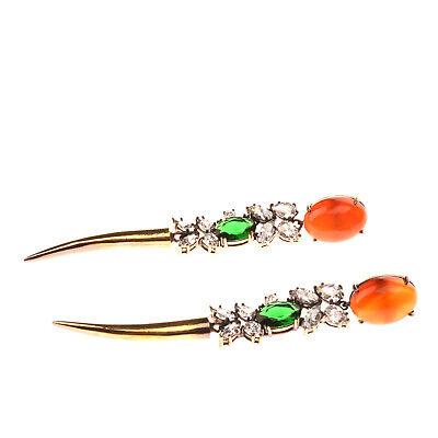 RRP €245 IOSSELLIANI ROMA Drop Earrings Rhinestones Tusk Charm Made in Italy