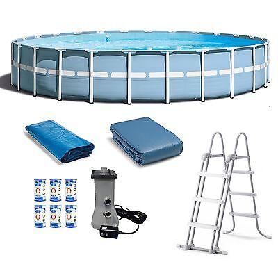 "Intex 24' x 52"" Prism Frame Pool Set w/ Ladder, Cover, Pump, & Filter Cartridges"