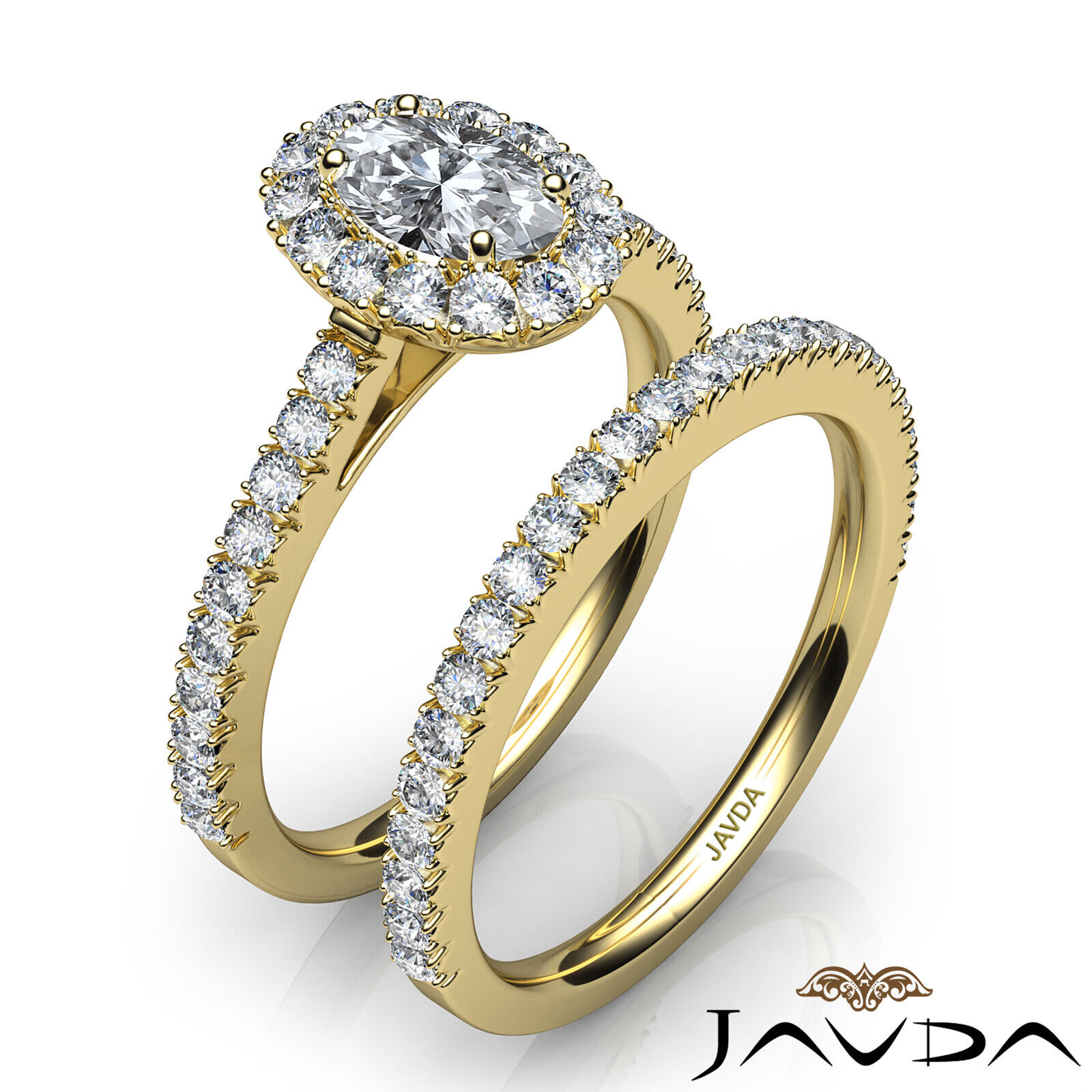 2.21ctw Halo Bridal French Pave Oval Diamond Engagement Ring GIA F-VVS2 W Gold 10