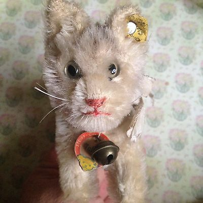 "RARE VINTAGE MINIATURE 3.5"" STEIFF TABBY CAT ALL IDs -SO NICE PRECIOUS FACE NR"