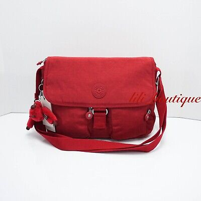 NWT Kipling KI0585 New Rita Crossbody Messenger Bag Polyamide Cherry Red Tonal