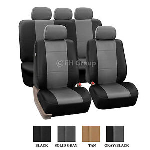 PU Leather Seat Covers Solid Bench Gray & Black