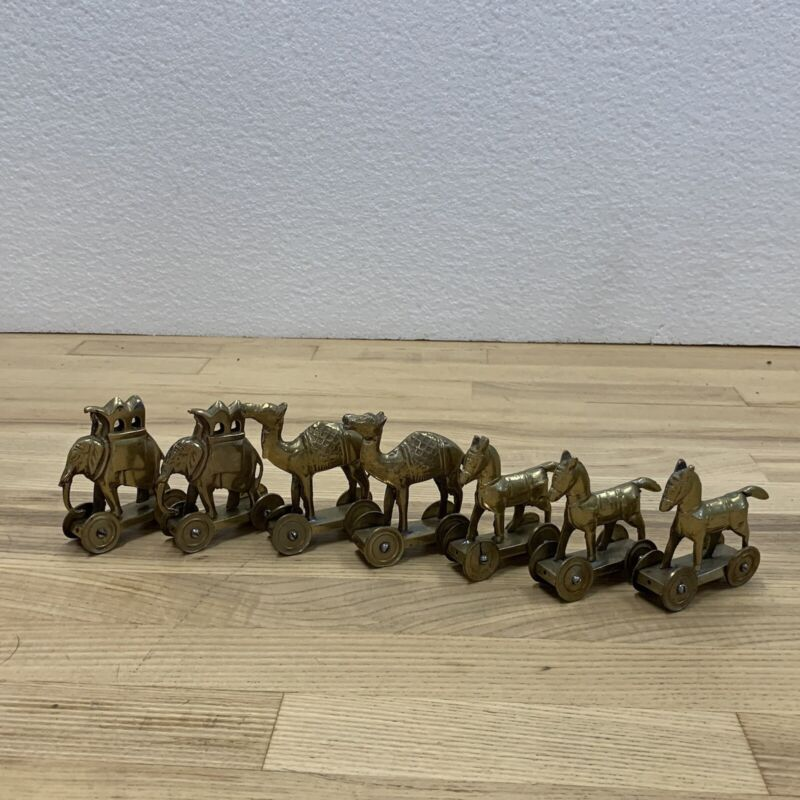 """Vintage Brass Camels Elephants Horses Rolling Toy From India Cool about 3"""" Tall"""
