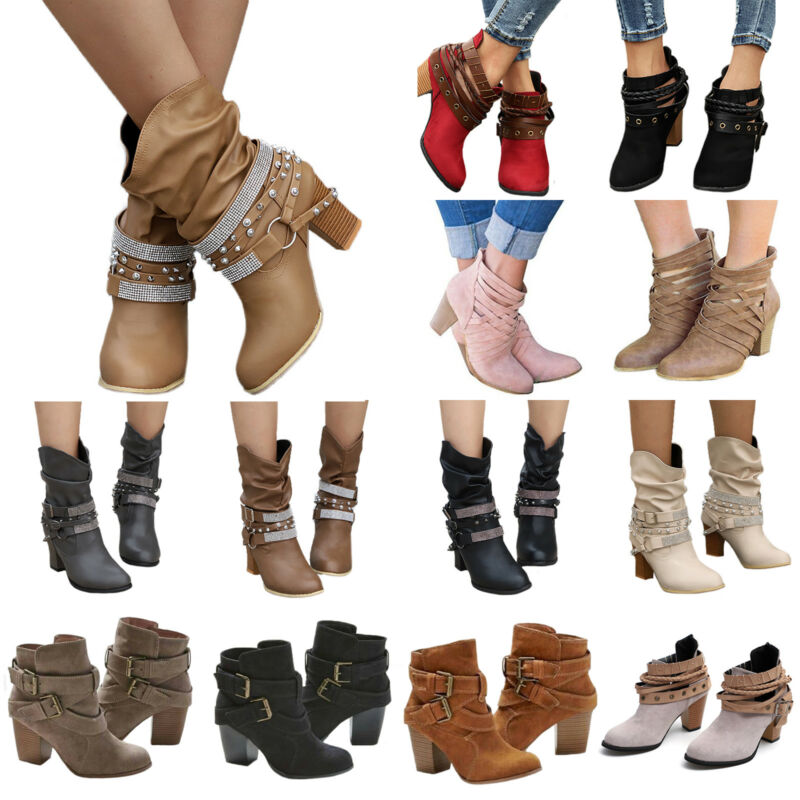 Womens High Heel Buckle Ankle Boots Pointed Toe Booties Autu
