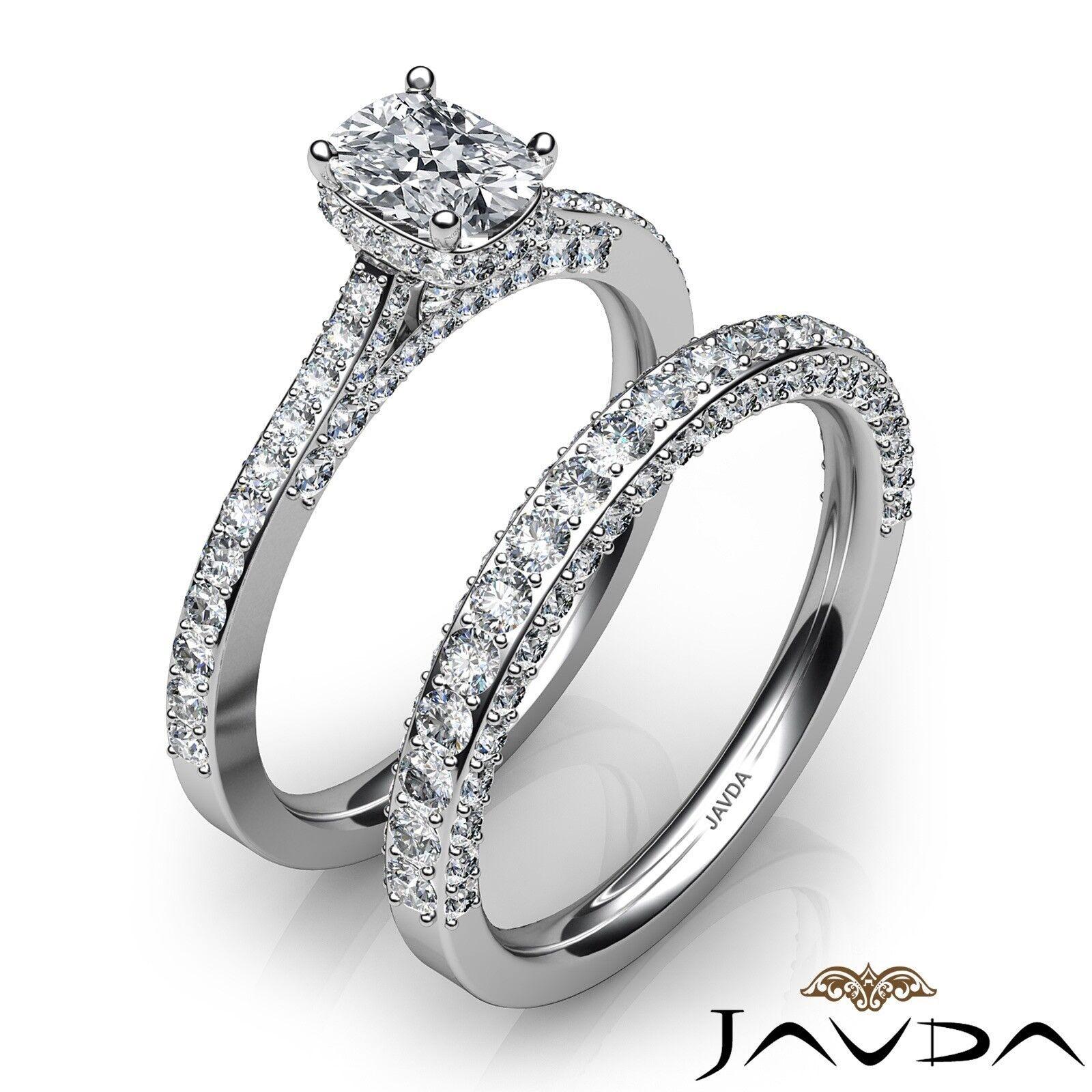 2.85ctw Pave Circa Halo Bridal Cushion Diamond Engagement Ring GIA F-VS1 W Gold 2