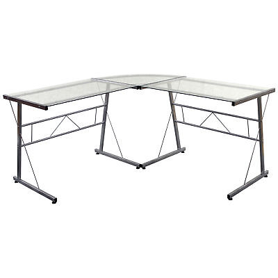 Glass Silver Metal Corner Study Computer Laptop Pc Desk Table Home Office