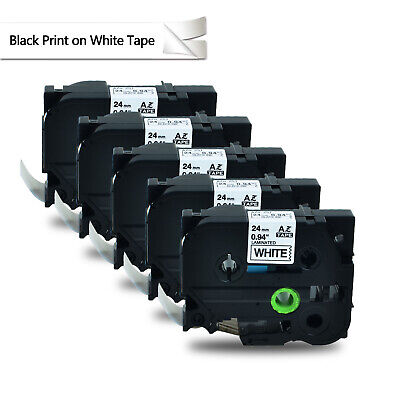 5pk Black On White Label Tape For Brother Tze251 Tz-251 P-touch 0.94x26.2ft